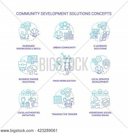 Community Development Solutions Concept Icons Set. Addressing Social Change Issues Idea Thin Line Co