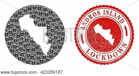 Vector Mosaic Andros Island Of Greece Map Of Locks And Grunge Lockdown Seal. Mosaic Geographic Andro