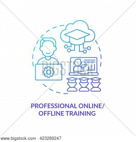 Online, Offline Training Concept Icon. Flexible Approach Abstract Idea Thin Line Illustration. Inter