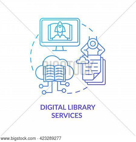 Digital Library Services Concept Icon. Community Development Abstract Idea Thin Line Illustration. B