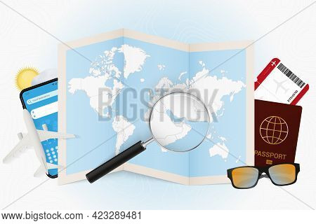 Travel Destination United Arab Emirates, Tourism Mockup With Travel Equipment And World Map With Mag