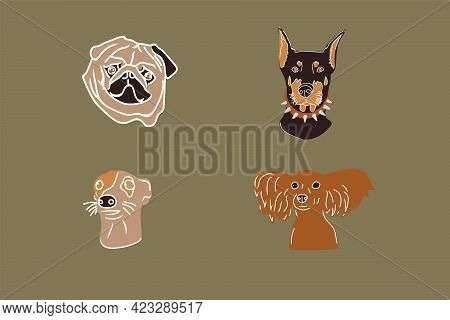 A Set Of Illustrations Of Pets. Vector Portraits With Dogs. Different Breeds Of Dogs Cute Characters