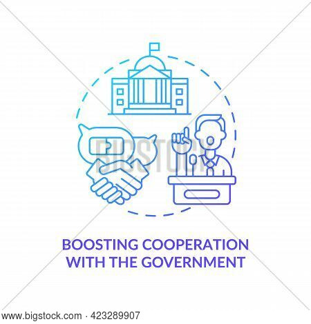 Boosting Cooperation With Government Concept Icon. Community Development Abstract Idea Thin Line Ill