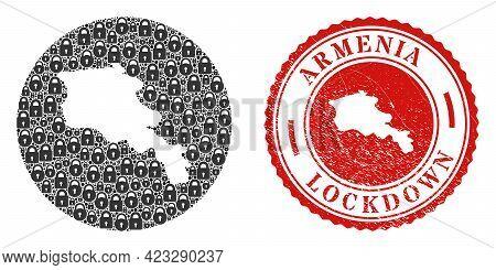 Vector Mosaic Armenia Map Of Locks And Grunge Lockdown Seal. Mosaic Geographic Armenia Map Created A