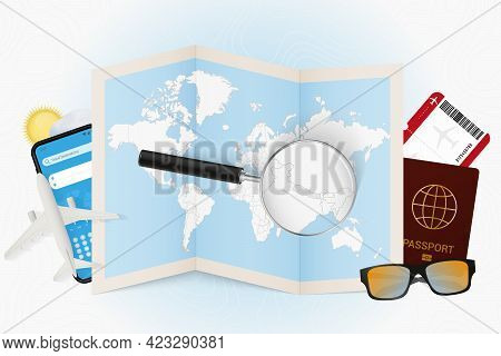 Travel Destination Nepal, Tourism Mockup With Travel Equipment And World Map With Magnifying Glass O
