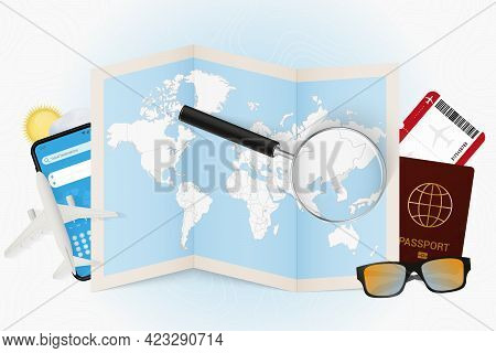 Travel Destination North Korea, Tourism Mockup With Travel Equipment And World Map With Magnifying G