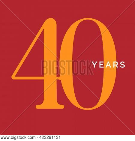 Forty Years Symbol. Fortieth Birthday Emblem. Anniversary Sign, Number 40 Logo Concept, Vintage Post