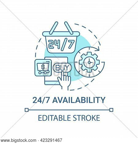 24 7 Availability Concept Icon. E-marketplace Benefit Abstract Idea Thin Line Illustration. Shopping