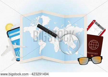 Travel Destination Thailand, Tourism Mockup With Travel Equipment And World Map With Magnifying Glas