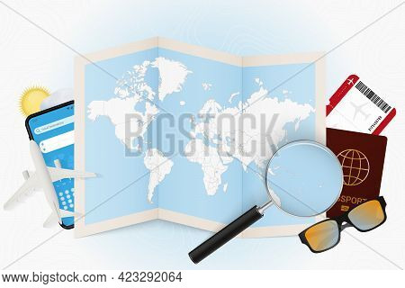 Travel Destination Vanuatu, Tourism Mockup With Travel Equipment And World Map With Magnifying Glass