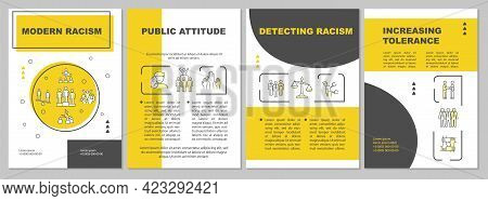 Modern Racism Brochure Template. Public Inequality. Flyer, Booklet, Leaflet Print, Cover Design With