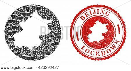 Vector Collage Beijing City Map Of Locks And Grunge Lockdown Stamp. Mosaic Geographic Beijing City M
