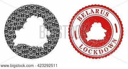 Vector Mosaic Belarus Map Of Locks And Grunge Lockdown Seal Stamp. Mosaic Geographic Belarus Map Con
