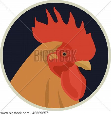 New Hampshire Rooster Icons Flat Vector Illustration Farming Breed Of Chickens Set