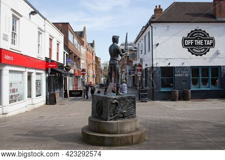 The Boy And The Boat Statue On The High Street Of Maidenhead In Berkshire In The Uk, Taken On The 30