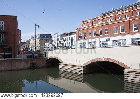 Views Of The Bridge On The High Street Over The River In Maidenhead, Berkshire In The Uk, Taken On T