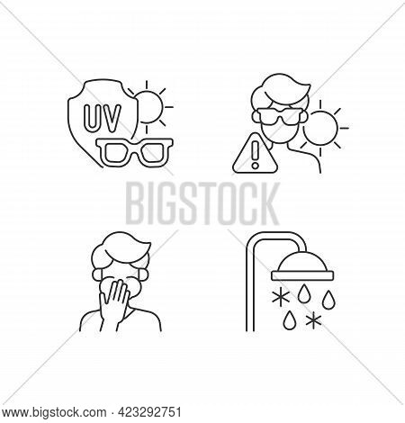 Uv Rays Exposure Risk Linear Icons Set. Sunglasses To Protect Eyes From Sunlight. Heatstroke Danger.