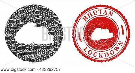 Vector Mosaic Bhutan Map Of Locks And Grunge Lockdown Seal. Mosaic Geographic Bhutan Map Created As