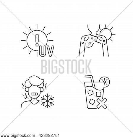 Sunburn Risk Linear Icons Set. Uv Rays Exposure Risk. Fluid Filled Blisters On Skin From Sunburn. Cu