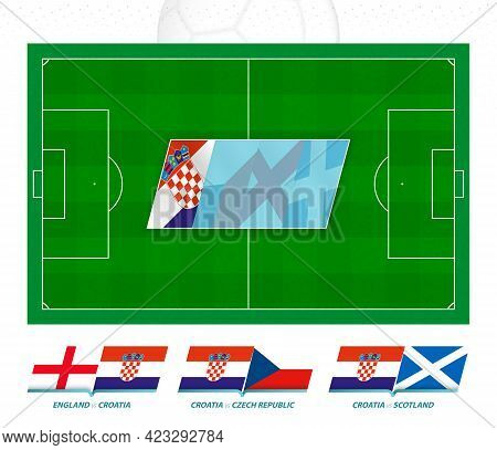 All Games Of The Croatia Football Team In European Competition. Football Field And Games Icon. Vecto