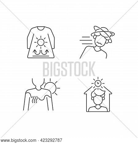 Sunstroke Risk During Summer Linear Icons Set. Long Sleeves And Loose Clothing. Sunburn In Summer. C