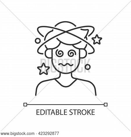 Dizziness And Confusion Linear Icon. Man Losing Consciousness. Heat Exhaustion Symptom. Thin Line Cu