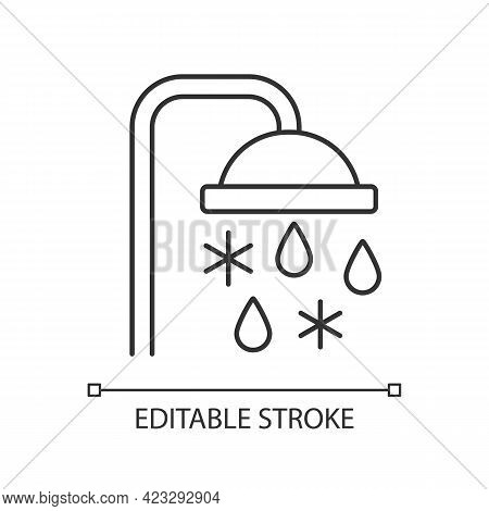 Taking Cold Bath Or Shower Linear Icon. Cooling Water In Bathroom. Flowing Liquid From Faucet. Thin
