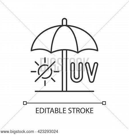 Seek Shade Linear Icon. Hide Under Umbrella. Uv Rays Protection To Avoid Heatstroke. Thin Line Custo