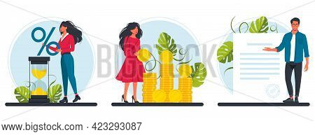 Loan With Interest Rate, Banking Service. People With A Huge Percent Sign, Hourglass, A Bunch Of Coi