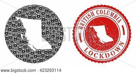 Vector Mosaic British Columbia Map Of Locks And Grunge Lockdown Seal Stamp. Mosaic Geographic Britis