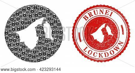 Vector Collage Brunei Map Of Locks And Grunge Lockdown Seal. Mosaic Geographic Brunei Map Designed A