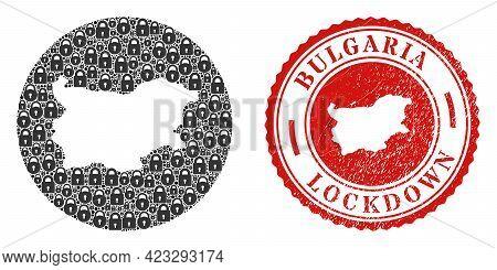 Vector Mosaic Bulgaria Map Of Locks And Grunge Lockdown Seal. Mosaic Geographic Bulgaria Map Designe