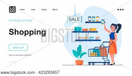 Shopping Web Concept. Woman Buys Cosmetics In Store On Sale. Buyer Makes Purchases At Supermarket. T