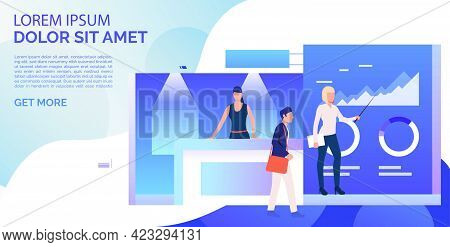 Business People Showing Isometric Sale Stands Landing Template. Expo Demonstration, Mall Marketing E