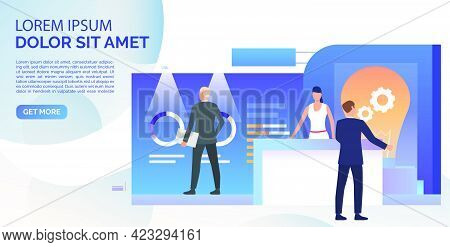 Business People Studying Isometric Sale Stands Landing Template. Expo Demonstration, Mall Marketing