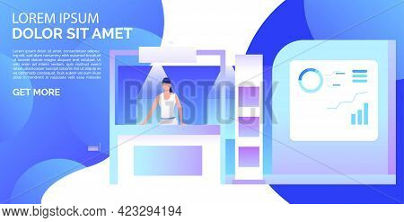 Businesswoman Presenting Isometric Sale Stands Landing Template. Expo Demonstration, Mall Marketing
