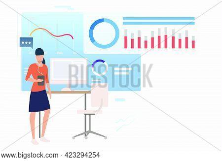 Entrepreneur Analyzing Business Data Diagrams. Consulting, Analytics, Analysis Concept. Vector Illus