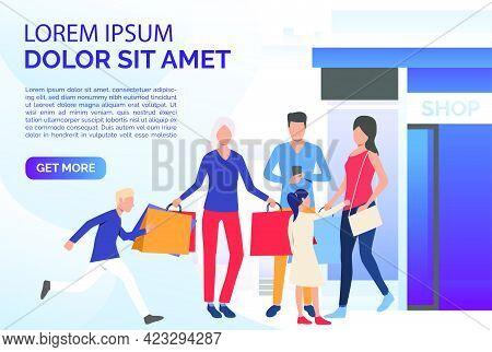 Family Shopping Together Slide Template. Parents, Children, Nurturing. Family Concept. Vector Illust