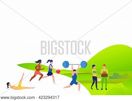 Fit People Doing Exercises Outdoors With Text Sample. Flat Cartoon Characters Harvesting Crop And Ex