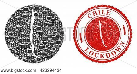 Vector Mosaic Chile Map Of Locks And Grunge Lockdown Stamp. Mosaic Geographic Chile Map Constructed