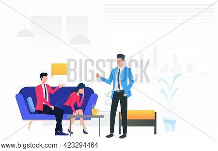 Psychologist Giving Advice To Husband And Wife Vector Illustration. Divorce, Communication Difficult