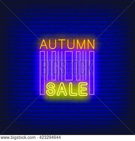 Autumn Sale Neon Lettering. Shopping, Discount, Sale Design. Night Bright Neon Sign, Colorful Billbo