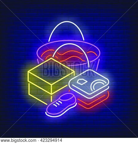 Folded Clothes, Shoe, Box And Shopping Bag Neon Sign. Retail, Marketing, Sale Design. Night Bright N