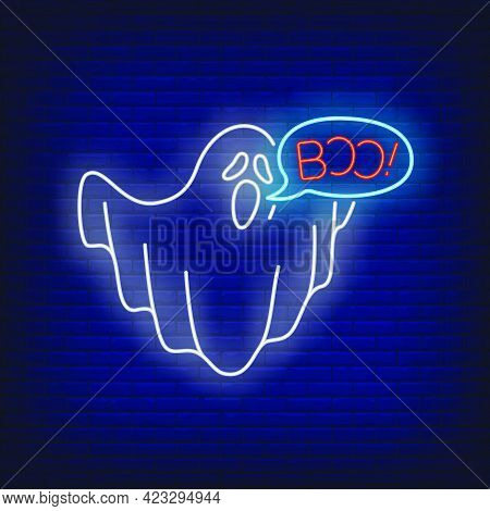 Ghost Saying Boo Neon Sign. Halloween Party, Fear Design. Night Bright Neon Sign, Colorful Billboard