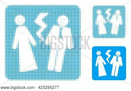 Broken Wedding Halftone Dotted Icon. Halftone Pattern Contains Round Pixels. Vector Illustration Of