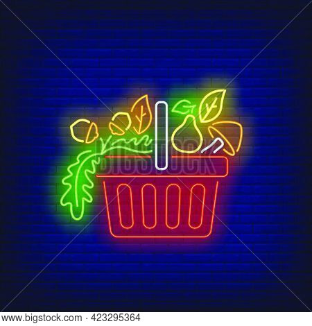 Pear, Mushroom And Hazelnuts In Shopping Basket Neon Sign. Buying, Purchase, Sale Design. Night Brig