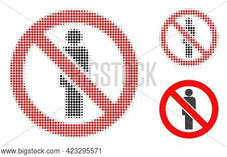 Forbidden Man Halftone Dotted Icon. Halftone Array Contains Round Elements. Vector Illustration Of F
