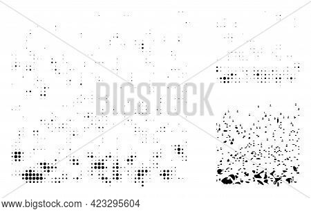 Powder Participles Halftone Dotted Icon. Halftone Pattern Contains Round Points. Vector Illustration