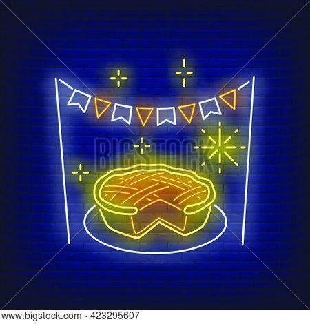 Pumpkin Pie In Neon Style. Glowing Neon Pie. Pastry, Pumpkin, Thanksgiving Day. Night Bright Adverti