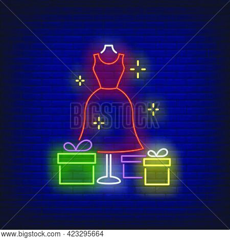 Red Dress On Mannequin And Gift Boxes Neon Sign. Retail, Marketing, Sale Design. Night Bright Neon S